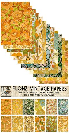 """Paper Pack (24sh 4""""x6"""") Flower Patterns Disco Era Seventies FLONZ Vintage Paper for Scrapbooking and Craft"""