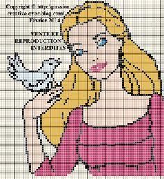 Grille gratuite point de croix : Barbie et oiseau