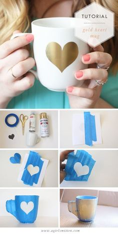 Diy gold heart mug diys diy mugs, gold diy, diy projects. Gold Diy, Cute Crafts, Crafts To Do, Craft Gifts, Diy Gifts, Diy Becher, Diy Mugs, Sharpie Mugs, Sharpie Crafts