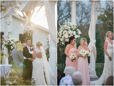 To create a look of elegance to the outdoor ceremony, white satin fabric and 3 crystal chandeliers enhanced the arch.