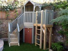 Corner playhouse shelter with storage