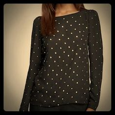 Vince camuto Tops - NWT Vince Camuto Black gold studded blouse XS top