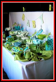 Turquoise Lime Green Baby Shower Cake And Cupcake Tower . Pregnant Belly Baby Shower Cake In Blue And Lime Green Wit . Candy Table Decorations, Decoration Table, Baby Shower Decorations, Outdoor Decorations, Baby Crib Sets, Baby Shower Pictures, Galley Kitchen Design, Baby Shower Dresses, Baby Shower Signs