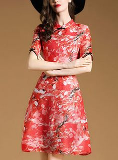 Shop for high quality Vintage Red Print Cheongsam Dress online at cheap prices and discover fashion at Ezpopsy.com