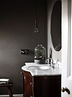 Dark interiors on pinterest dark walls black walls and for Greige interior design ideas and inspiration for the transitional home