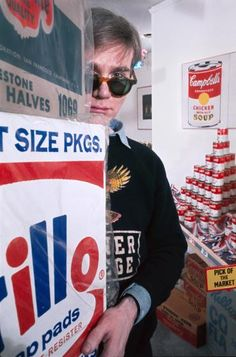 """Andy Warhol at his """"The American Supermarket"""" exhibition, 1964.by Henri Dauman TIME.com"""