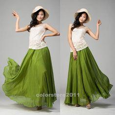 women's Mint green silk Chiffon 8 meters of skirt circumference  long dress maxi skirt qz02