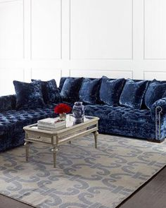 Shop Divine Crushed Velvet Left Chaise Sectional from Haute House at Horchow, where you'll find new lower shipping on hundreds of home furnishings and gifts. Navy Couch, Blue Sectional, Sectional Sofa With Chaise, Blue Sofas, My Living Room, Living Room Furniture, Home Furniture, Handmade Furniture, Basement Furniture