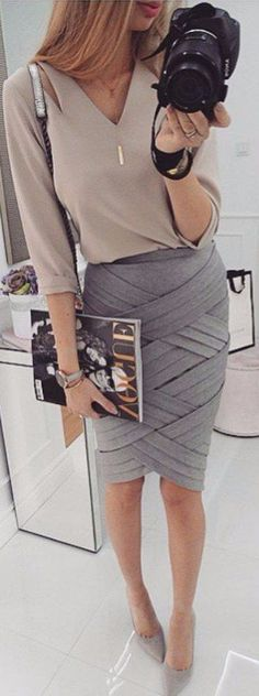 grey shades office attire wrapped skirt + shirt