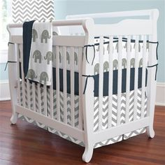 Navy and Gray Elephants Mini Crib Bumper