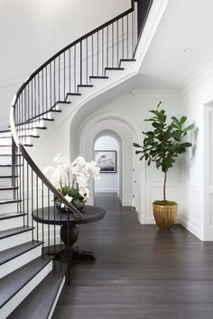 Chic, classic foyer features a curved staircase wall filled with a black round table and orchids. Chic, classic foyer features a curved staircase wall filled with a black round table and orchids. Foyer Staircase, Curved Staircase, Entrance Foyer, Staircase Design, Foyer Design, House Design, Staircase Ideas, White Staircase, Grand Entrance