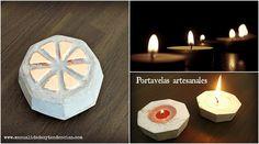 Cómo hacer portavelas de cemento www.manualidadesytendencias.com #manualidades #cemento #diy #homedecor #concrete #portavelas #photophore #candle #holder
