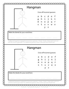 Today we present you the printable version of Hangman word games to keep your kids interested and occupied. This classic pencil and paper game is great for spending leisure time, and you can get your kids learning more vocabulary and spelling. Road Trip Activities, Road Trip Games, Activities For Kids, Paper Games For Kids, Road Trips, Word Games For Kids, Free Games For Kids, Kids Songs, Classroom Activities