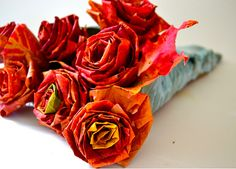 roses made out of plain leaves.  tutorial!
