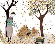 Who's hiding under the pile of leaves? - Fall / autumn illustration by Cristina…