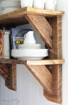 Open Shelving Raw Reclaimed Wood Apartment Kitchen Shelves
