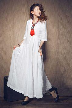 White Dress , maxi linen dress, Wedding maxi linen dress (In Stock) XXL,XXXL  / White Kaftan / Extravagant Long Dress / Party Dress C1003 by camelliatune on Etsy https://www.etsy.com/listing/101191133/white-dress-maxi-linen-dress-wedding
