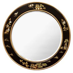 The frame is hand painted with a gold highlighted Chinoiserie scenery design. Decorate your walls with our elegantly framed Chinese mirrors only found here. Round Hanging Mirror, Wall Mounted Mirror, Round Mirrors, Wall Mirrors, Chinoiserie, Asian Wall Decor, Zen Home Decor, Asian Furniture, Jewelry Chest