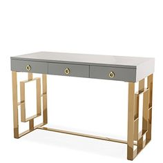 TOV Furniture The Audrey Collection Modern Computer Office Writing Desk with Lacquered Wooden Top, Gold Base & 3 Storage Drawers, Gray Wood 4 Good http://www.wood4goodaccessories.com/product/tov-furniture-the-audrey-collection-modern-computer-office-writing-desk-with-lacquered-wooden-top-gold-base-3-storage-drawers-gray/  Price: 547.67 & FREE Shipping  #homedecor
