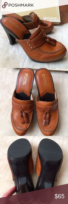 NWT Michael Kors Leather Clogs Size 7 Brand new in box, all leather with wooden heel, size 7 MICHAEL Michael Kors Shoes Mules & Clogs