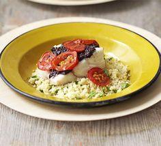 Tapenade and tomato roast fish
