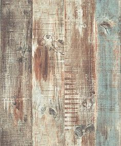 Blooming Wall Vintage Wood Panel Wood Plank Wallpaper Rolls Wall Paper Wall Mural For Livingroom Bedroom Kitchen Bathroom, 20.8 In*32.8 Ft=57 Sq.ft,Tan/Blue/Brown/Gray