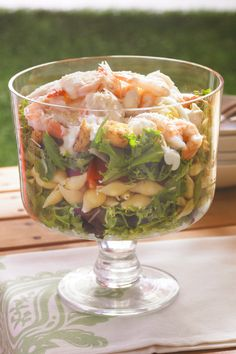 Layered Caesar, Shrimp & Pasta Salad – A layered salad is the perfect summer dish. Our recipe has tips on keeping lettuce crisp and how to up the level of Caesar-style flavor with fresh garlic.