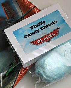 Disney Planes Party Ideas + Free Printables – Views From the Ville Disney Planes Party Ideas: Fluffy Candy Clouds Labels for our Birthday Party – Free Birthday Party Snacks, 4th Birthday Parties, Boy Birthday, Birthday Ideas, Wine Birthday, Third Birthday, Disney Planes Party, Disney Planes Birthday, Disney Cars