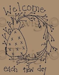 Primitive Stitchery Patterns | Primitive Patterns - Stitcheries - Samplers and Sayings - Welcome Each ...