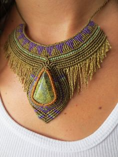 Serpentine Macrame Necklace handmade with natural serpentine gemstone cabochon