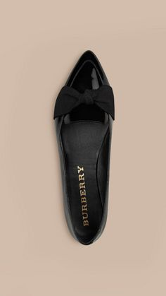 Black Patent Leather Loafers with Grosgrain Bow Black - Image 3