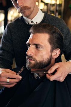 Bearded Men ~ If you opt for facial hair on your wedding day, ensure it is impeccably groomed. Use a beard conditioner and have it professionally styled before you hit the aisle. Moustaches, Shaved Hair Cuts, Beard Conditioner, Style Hipster, Make Love, Beard Grooming, Mustache Grooming, Beard No Mustache, Hair And Beard Styles