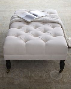 """wish this was not in white as we are dirty people. """"Ellsworth"""" Collection Tufted Ottomans - Horchow"""