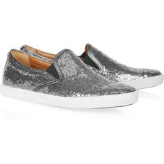 Jimmy Choo Demi leather-trimmed sequined sneakers ($213) ❤ liked on Polyvore