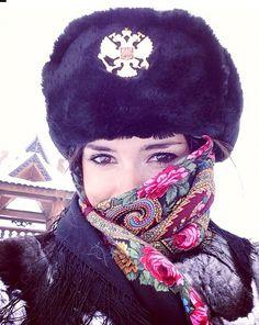 Russian beauty, military, folk, fur. Russian girl