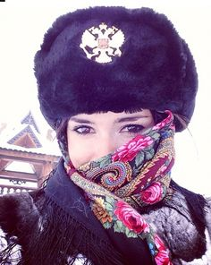 Russian beauty, military, folk, fur. Russian girl