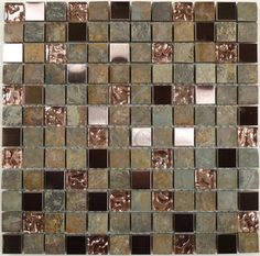 """Warm Glow 7/8"""" x 7/8"""" Bronze/Copper Metal and Stone Glossy & Unpolished Glass  S - kitchen tile - by Glass Tile Oasis"""