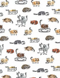 Thumbprint Cats - Samarra Khaja for Timeless Treasures - Cotton Fabric - - 1 yard Crazy Cat Lady, Crazy Cats, Fingerprint Art, Thumb Prints, Handprint Art, Cat Pattern, Illustrations, Ipad Mini, Doodle Art