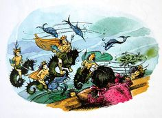 Lucy seeing the war-like Sea People Aslan Narnia, Sea Peoples, Myths & Monsters, Sea Serpent, Harry Potter, Fantasy Story, Cs Lewis, Chronicles Of Narnia, Vintage Children's Books