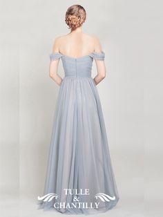 Elegant Long Tulle Off Shoulder Light Grey Bridesmaid Dress 2