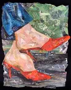 """Eileen Downes """"paints"""" with bits of torn paper. """"Heels and Jeans"""" from the Stepping-Up Series of Shoes."""