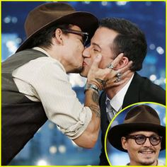 Johnny Depp plants a big kiss on Jimmy Kimmel during an appearance on Jimmy Kimmel Live! on Monday night (July 1) in Hollywood.