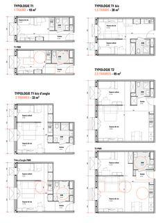 Cargo Culte - JEAN BOCABEILLE ARCHITECTE JEAN BOCABEILLE ARCHITECTE Student Apartment, Student House, Apartment Layout, Apartment Plans, Plan Hotel, Hotel Floor Plan, House Design 3d, The Plan, How To Plan