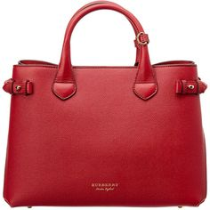 Burberry Medium Leather & House Check Tote ($1,300) ❤ liked on Polyvore featuring bags, handbags, tote bags, red, leather totes, leather zip tote, red tote, zip tote and zipper tote