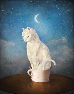 'Cat in a Cup' by Christian  Schloe on artflakes.com as poster or art print $22.17