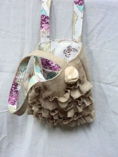 Burlap Purse with Ruffles French Market Bag by theruffleddaisy, $47.00