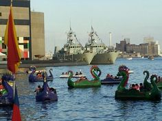 Dragon paddle boats at the Inner Harbor, Baltimore, MD