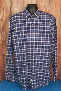 Izod Men's Long Sleeve Big & Tall Blue Plaid Button Front Shirt Size LT #3 #IZOD #ButtonFront