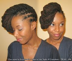 Side swept.  I'll prob try this with braids or longer locs