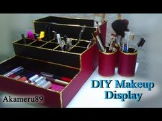 DIY Makeup Display/Storage - Close to free with recycled materials - YouTube